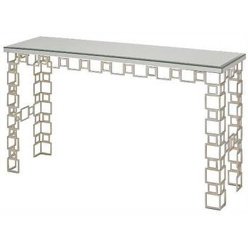 Tables - Currey and Company Euclid Console Table I Homeclick - mirror topped silver console, modern silver console table, silver wrought iron console, silver leafed console, silver geometric console table,