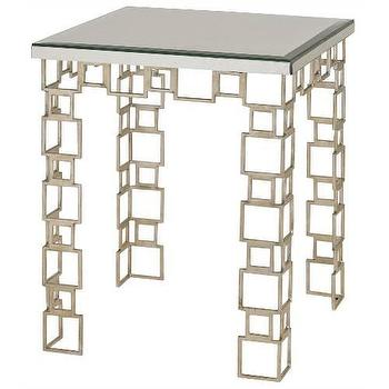 Tables - Currey and Company Euclid Accent Table I Homeclick - silver geometric end table, silver leafed accent table, silver mirrored accent table, modern silver accent table,