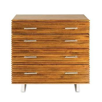 Storage Furniture - Currey and Company Waterfall Chest in Honey Brown I Homeclick - mango wood chest, modern mango wood chest, ridged wood chest, textured wood chest, wood chest with metal legs,