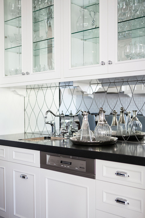 mirrored wet bar backsplash transitional kitchen