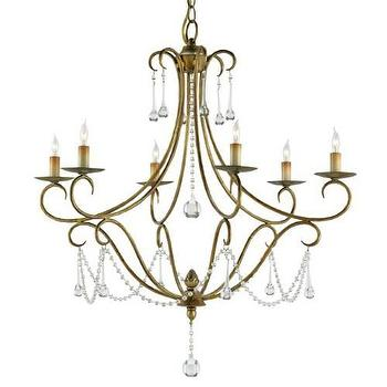 Currey and Company Agostina 6 Light Chandelier in Rhine Gold I Homeclick