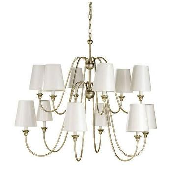 Lighting - Currey and Company Orion 12 Light Chandelier with Silver Leaf I Homeclick - contemporary silver leaf chandelier, silver chandelier with white shades, silver leafed candelabra chandelier,