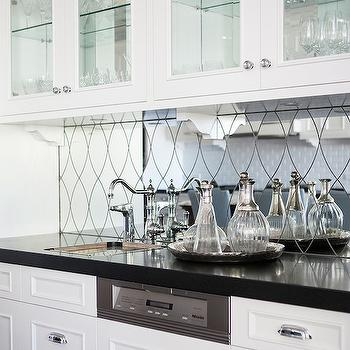 Mirrored Wet Bar Backsplash, Transitional, kitchen, Highgate House