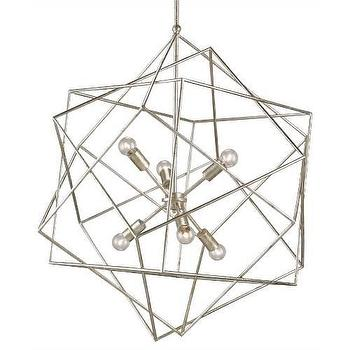 Lighting - Currey and Company Aerial 6 Light Chandelier in Silver Granello I Homeclick - geometric silver cahndelier, modern silver chandelier, silver cubism chandelier, modern silver leafed chandelier,