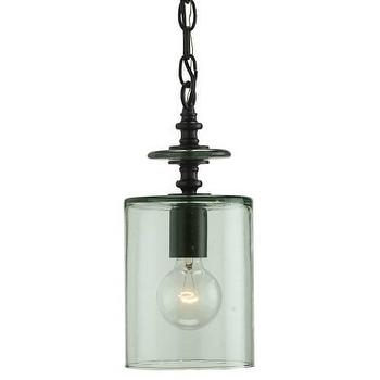 Lighting - Currey and Company Panorama 1 Light Pendant in Satin Black I Homeclick - green glass pendant light, recycled glass pendant light, green recycled glass pendant light, single light glass pendant, glass cylinder pendant light,