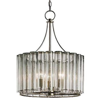 Lighting - Currey and Company Bevilacqua 3 Light Chandelier in Silver Leaf I Homeclick - glass bud vase chandelier, bud vase chandelier, glass tube chandelier,