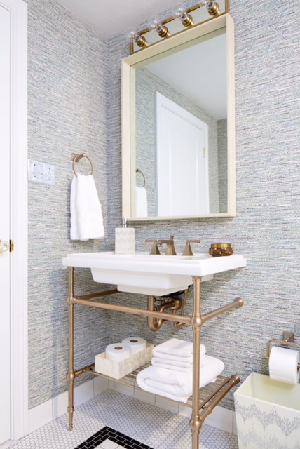 Brass Washstand Eclectic Bathroom Natalie Clayman Interior Design