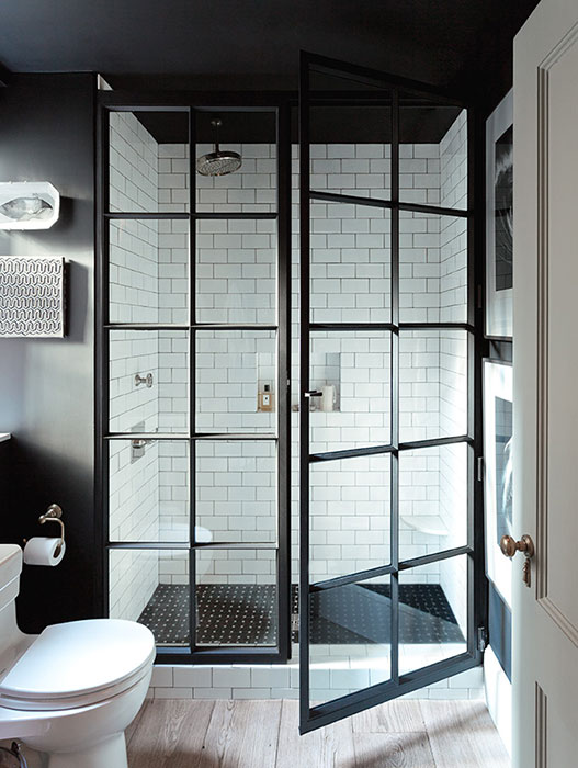Steel Shower Doors, Transitional, bathroom, Jenny Wolf Interiors