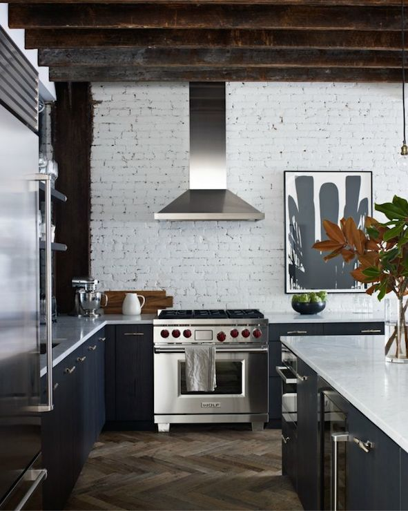 Whitewashed brick transitional kitchen jenny wolf for What kind of paint to use on kitchen cabinets for loft wall art