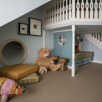 Alice Lane Home - girl's rooms - playroom ideas, playroom slide, playroom playhouse, indoor playhouse, built in playhouse, playhouse with stairs, inside playhouse with stairs, indoor slide, kids room slide, playroom slide, indoor tube slide, inside slide, built in slide, oversize stuffed bear, stuffed rhino, multi colored rhino, built in indoor slide, built in inside slide, dream playroom, playroom slide ideas, indoor playhouse ideas, indoor slide, playroom slide,