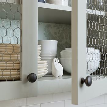 Jenny Wolf Interiors - kitchens - chicken wire cabinets, chicken wire kitchen cabinets, chicken wire cabinet doors, wallpaper in kitchen cabinets, kitchen cabinets lined with wallpaper, gray damask wallpaper, wallpaper on backs of shelves, wallpaper on backs of kitchen cabinets, wallpaper on back of cabinets,
