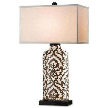 Lighting - Currey and Company Perigee 1 Light Table Lamp I Homeclick - brown and ivory table lamp, brown damask table lamp, damask table lamp, brown patterned table lamp,