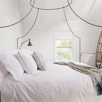 Jenny Wolf Interiors - bedrooms - beachy bedroom, beach cottage bedrooms, beach cottage bedroom ideas, paneled bedrooms, white paneled bedrooms, iron bed, iron canopy bed, anthropologie bed, anthropologie iron bed, anthropologie canopy bed, bed sconces, swing arm bedroom sconces, , Anthropologie Italian Campaign Canopy Bed,