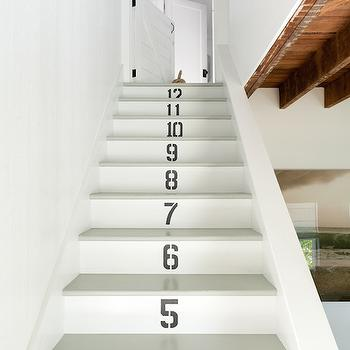 Jenny Wolf Interiors - entrances/foyers - cottage staircase, cottage stairwell, painted steps, painted interior steps, numbered steps,  Cottage