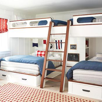 Kids Loft beds, Cottage, boy's room, Pratt and Lambert Designer White, Coastal Living