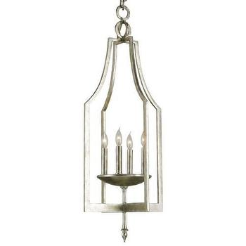 Lighting - Currey and Company Musicbox Lantern I Homeclick - silver lantern pendant, silver open lantern pendant, transitional silver lantern pendant,