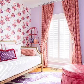 Natalie Clayman Interior Design - girl's rooms - pleated drapes, twin daybed, matouk bedding, embroidered bedding, bolster, round ottoman, jonathan adler floor lamp, anthropology wallpaper, cherry blossom,