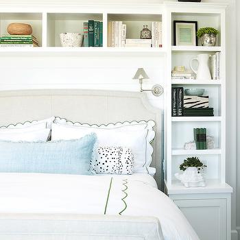 Headboard Bookcase, Cottage, bedroom, Pratt and Lambert Designer White, Coastal Living