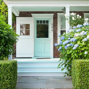 Jenny Wolf Interiors - home exteriors - mint green door, mint green front door, painted steps, porch steps, painted porch steps, mint green steps,