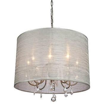 Lighting - Artcraft Claremont 8 Light Chandelier in Silver I Homeclick - silk drum chandelier, silk drum pendant, silk shade chandelier, silk shade crystal chandelier,