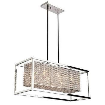 Lighting - Artcraft Vega 6 Light Chandelier in Stainless Steel I Homeclick - rectangular chrome chandelier, rectangular crystal chandelier, transitional chrome chandelier,