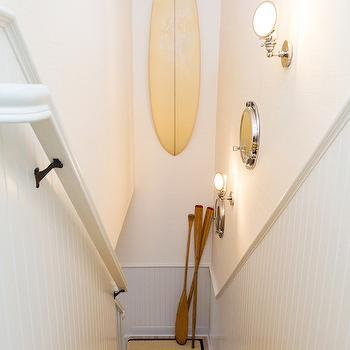 Chango & Co. - entrances/foyers - cottage stairwell, cottage staircase, cottage stairwell ideas, cottage staircase ideas, decorative surfboard, decorative oars, gray beadboard, gray beadboard trim, staircase beadboard, stairwell beadboard, gray beadboard on stairwell, staircase gray beadboard, stairwell gray beadboard, beadboard wainscoting, gray beadboard wainscoting, bound stair runner, blue bound stair runner, woven stair runner, porthole mirror, stairwell mirrors, staircase mirrors, staircase sconces,