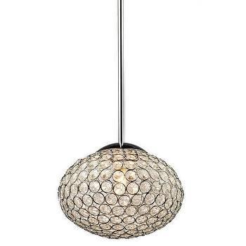Lighting - Artcraft Pandora 8 2 Light Single Pendant in Chrome I Homeclick - oval crystal pendant, egg shaped crystal pendant, oval crystal chandelier,