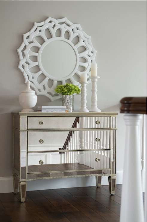 Foyer Chest With Mirror : White half moon foyer table contemporary entrance