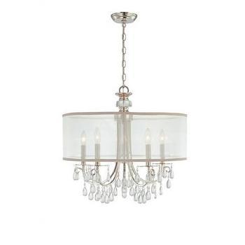 Lighting - Crystorama Hampton 5 Light Chandelier in Polished Chrome I Homeclick - silk shade chandelier, silver drum chandelier, crystal droplet drum chandelier,