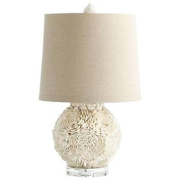 Lighting - Cyan Design Mum Fluorescent 1 Light Table Lamp in White I Homeclick - white shell lamp, seashell lamp, round seashell lamp, mini seashell lamp,