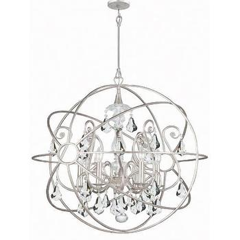 Lighting - Crystorama Solaris 6 Light Chandelier in Olde Silver I Homeclick - silver and crystal sphere chandelier, silver orb chandelier, silver sphere chandelier,