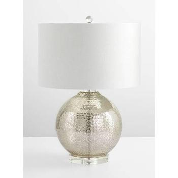 Lighting - Cyan Design Hammered Reflections Fluorescent Table Lamp in Mercury I Homeclick - round mercury glass lamp, hammered mercury glass lamp, mercury glass table lamp,