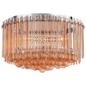 Lighting - Cyan Design Lois 3 Light Flush Mount in Blush I Homeclick - pink chandelier, pink crystal chandelier, tiered pink chandelier, transitional pink chandelier,