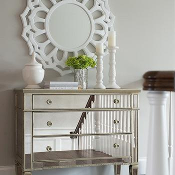 Mirrored Hall Chest, Transitional, entrance/foyer, Benjamin Moore Apparition, Studio M Interiors