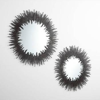 Mirrors - Cyan Design W Aurora Mirror in Graphite I Homeclick - iron framed mirror, oval iron framed mirror, iron sunburst mirror,