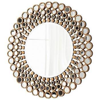 Mirrors - Cyan Design Full Circle Mirror in Walnut Mirrored Glass I Homeclick - round mirror mosaic mirror, round gold mosaic mirror, round gold dot mirror,