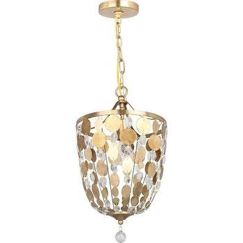Lighting - Crystorama Bella 1 Light Pendant I Homeclick - gold disc chandelier, gold crystal disc chandelier, gold and crystal pendant light,