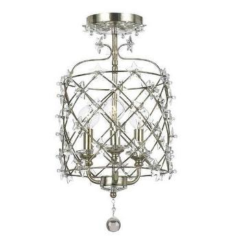Lighting - Crystorama Willow 3 Light Pendant I Homeclick - antique silver and crystal pendant, silver and crystal lantern pendant,