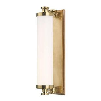 Lighting - Hudson Valley Lighting Sheridan 8 Light I Homeclick - tubular brass vanity sconce, tubular brass wall sconce, brass and opal glass sconce,