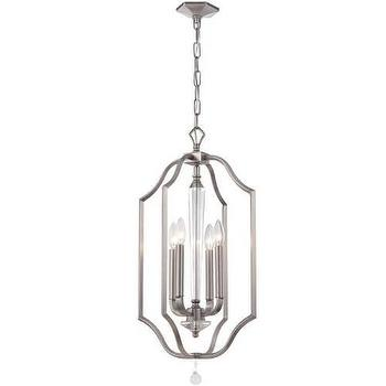 Lighting - Crystorama Hugo 4 Light Pendant I Homeclick - silver foyer pendant, silver foyer lantern, silver open lantern pendant,