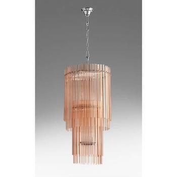 Lighting - Cyan Design Swizzle 9 Light Chandelier I Homeclick - blush pink chandelier, pink glass chandelier, pink glass rod chandelier, tiered pink chandelier,