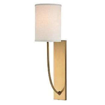 Lighting - Hudson Valley Lighting Colton 1 Light Wall Sconce I Homeclick - aged brass wall sconce, aged brass sconce, brass shade sconce, contemporary brass sconce, brass drum shade sconce,