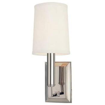 Hudson Valley Lighting 811 Clinton 1 Light Wall Sconce I Homeclick - polished nickel uplight sconce, up light nickel sconce, nickel sconce with ivory shade,