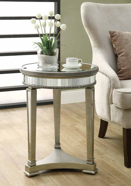 Brookstone Mirrored Round Accent Table Look for Less