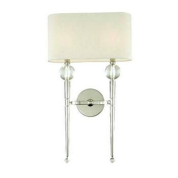 Lighting - Hudson Valley Lighting Rockland 2 Light Wall Sconce I Homeclick - polished nickel 2 arm sconce, nickel two arm sconce, nickel and crystal sconce,