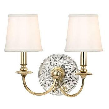 Hudson Valley Lighting Yates 2 Light Double Wall Sconce I Homeclick - brass two arm sconce, brass and nickel sconce, brass sunflower sconce,