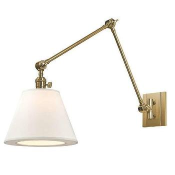 Lighting - Hudson Valley Lighting Hillsdale 1 Light Swing Arm Wall Sconce I Homeclick - aged brass wall lamp, adjustable brass wall lamp, brass swing arm wall lamp,