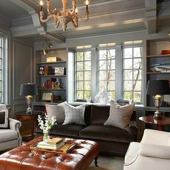 Gray Paneled Den, Transitional, den/library/office, Murphy & Co. Design