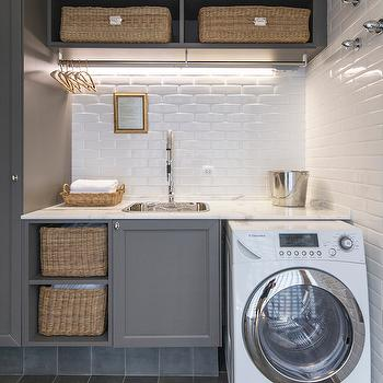 Gray Laundry Rooms, Transitional, laundry room, Casa de Valentina