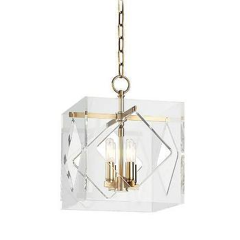 Lighting - Hudson Valley Lighting Travis 4 Light Pendant I Homeclick - modern acrylic pendant light, acrylic and brass pendant light, acrylic cube pendant light,